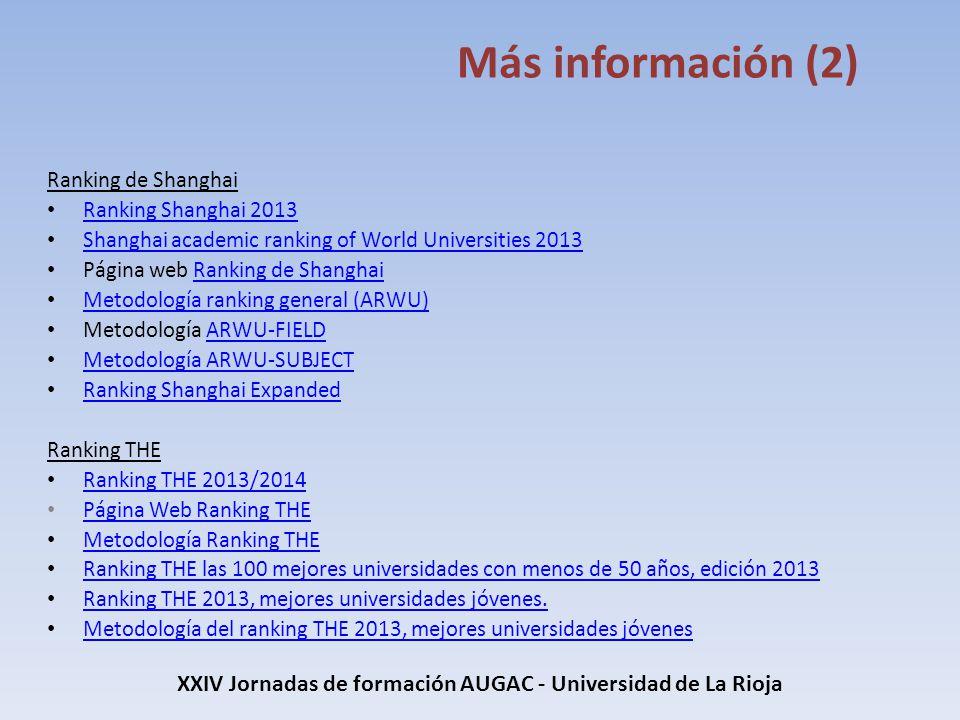 XXIV Jornadas de formación AUGAC - Universidad de La Rioja Más información (2) Ranking de Shanghai Ranking Shanghai 2013 Ranking Shanghai 2013 Shangha