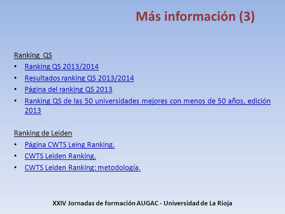 XXIV Jornadas de formación AUGAC - Universidad de La Rioja Más información (3) Ranking QS Ranking QS 2013/2014 Ranking QS 2013/2014 Resultados ranking