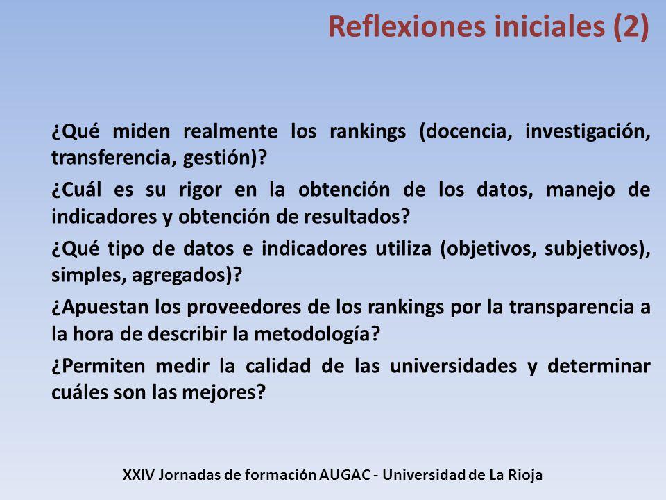 XXIV Jornadas de formación AUGAC - Universidad de La Rioja Resultados Universidades españolas (Shanghai) Ranking nacional 2013 Universidad Ranking mundial 2013 1-4U.