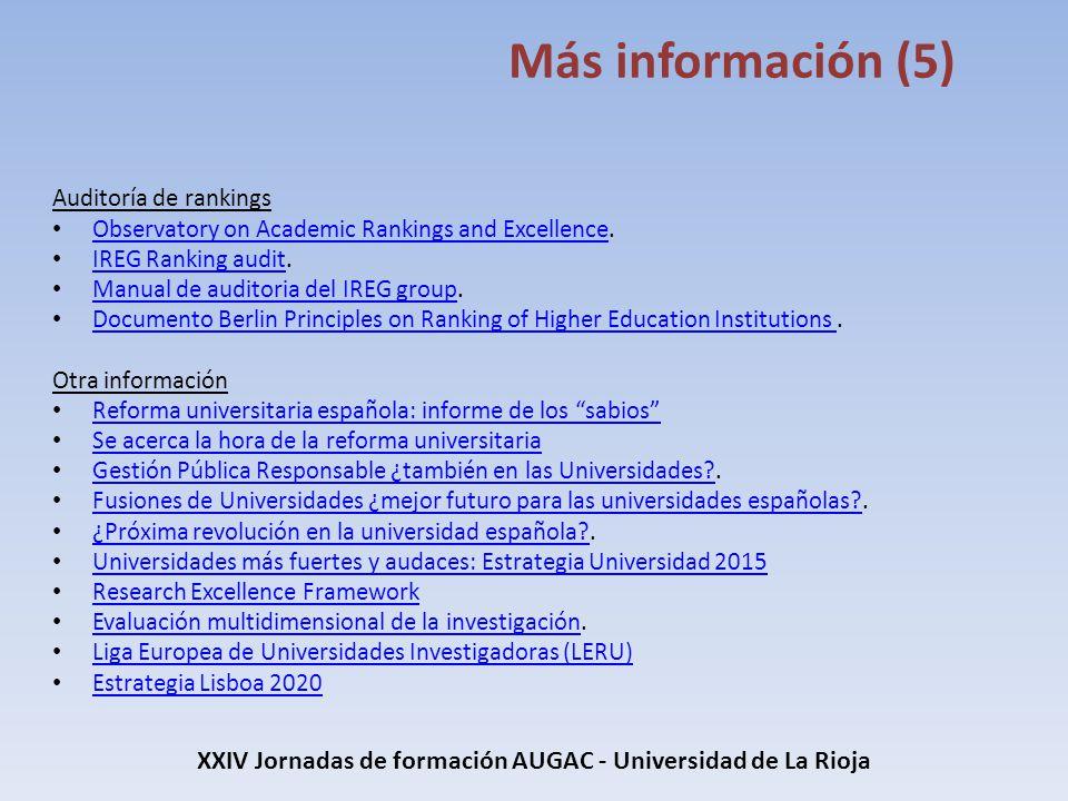 XXIV Jornadas de formación AUGAC - Universidad de La Rioja Más información (5) Auditoría de rankings Observatory on Academic Rankings and Excellence.