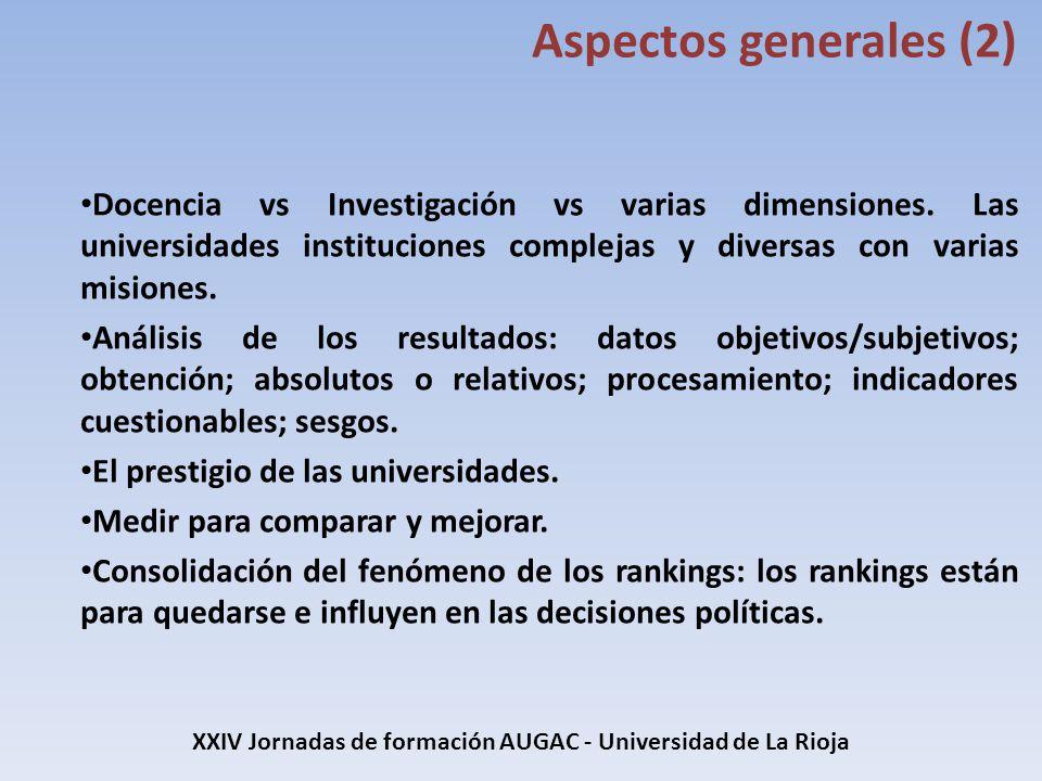 Docencia vs Investigación vs varias dimensiones. Las universidades instituciones complejas y diversas con varias misiones. Análisis de los resultados: