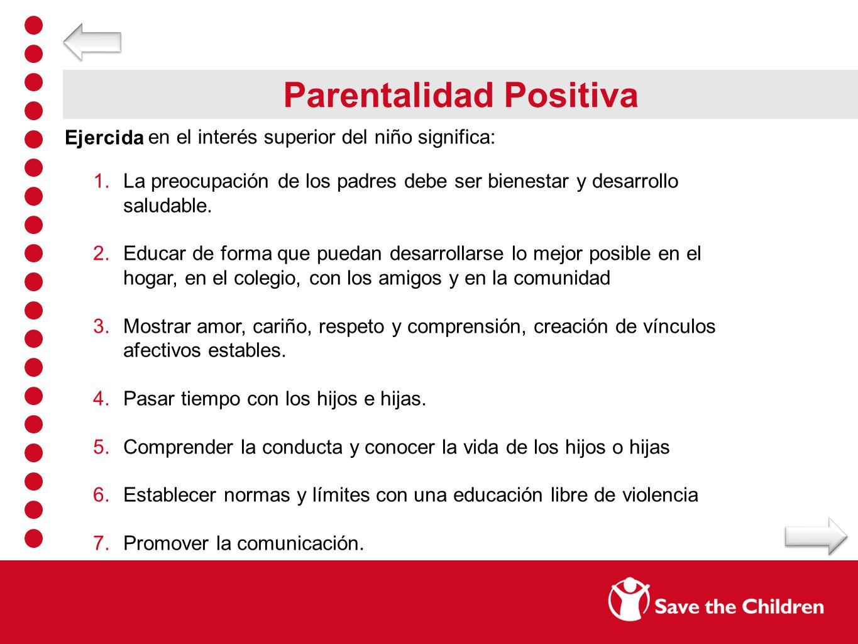 Parentalidad Positiva Ejercida en el interés superior del niño significa: 1.La preocupación de los padres debe ser bienestar y desarrollo saludable. 2