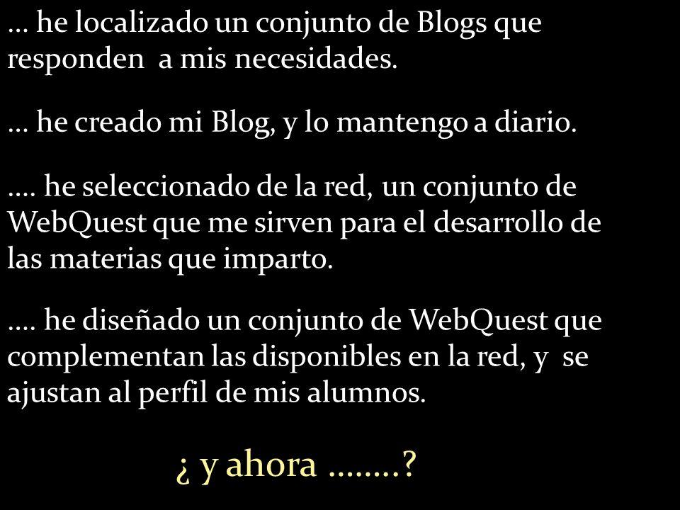 … he creado mi Blog, y lo mantengo a diario. … he localizado un conjunto de Blogs que responden a mis necesidades. …. he seleccionado de la red, un co