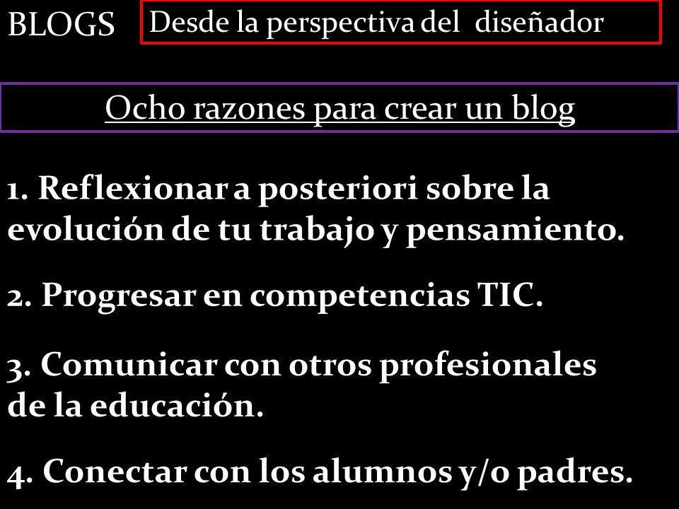 BLOGS Desde la perspectiva del diseñador Ocho razones para crear un blog 1. Reflexionar a posteriori sobre la evolución de tu trabajo y pensamiento. 2