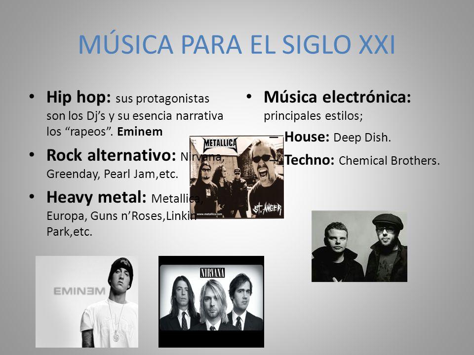 MÚSICA PARA EL SIGLO XXI Hip hop: sus protagonistas son los Djs y su esencia narrativa los rapeos. Eminem Rock alternativo: Nirvana, Greenday, Pearl J
