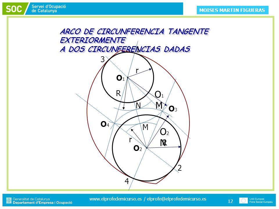 MOISES MARTIN FIGUERAS www.elprofedemicurso.es / elprofe@elprofedemicurso.es 12 ARCO DE CIRCUNFERENCIA TANGENTE EXTERIORMENTE A DOS CIRCUNFERENCIAS DADAS ARCO DE CIRCUNFERENCIA TANGENTE EXTERIORMENTE A DOS CIRCUNFERENCIAS DADAS O3O3 O4O4 N M r R O2NO2N O1MO1M R r 1 2 3 4 O2O2 O1O1
