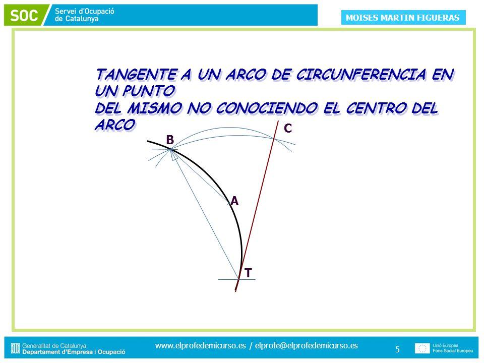MOISES MARTIN FIGUERAS www.elprofedemicurso.es / elprofe@elprofedemicurso.es 5 TANGENTE A UN ARCO DE CIRCUNFERENCIA EN UN PUNTO DEL MISMO NO CONOCIENDO EL CENTRO DEL ARCO TANGENTE A UN ARCO DE CIRCUNFERENCIA EN UN PUNTO DEL MISMO NO CONOCIENDO EL CENTRO DEL ARCO A T B C