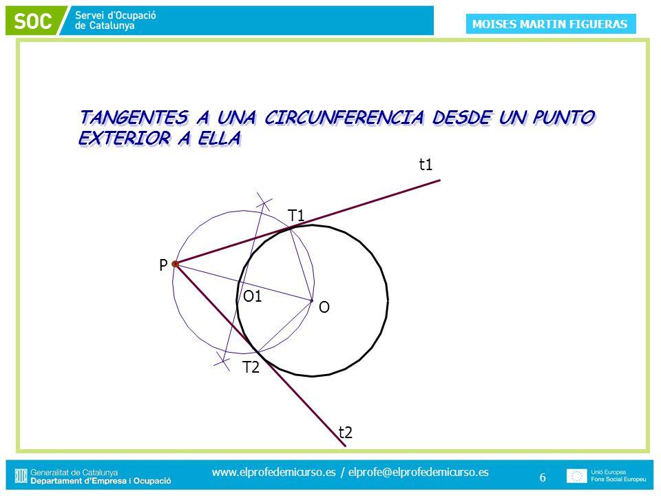 MOISES MARTIN FIGUERAS www.elprofedemicurso.es / elprofe@elprofedemicurso.es 6 TANGENTES A UNA CIRCUNFERENCIA DESDE UN PUNTO EXTERIOR A ELLA O1 T2 T1 t2 P O t1