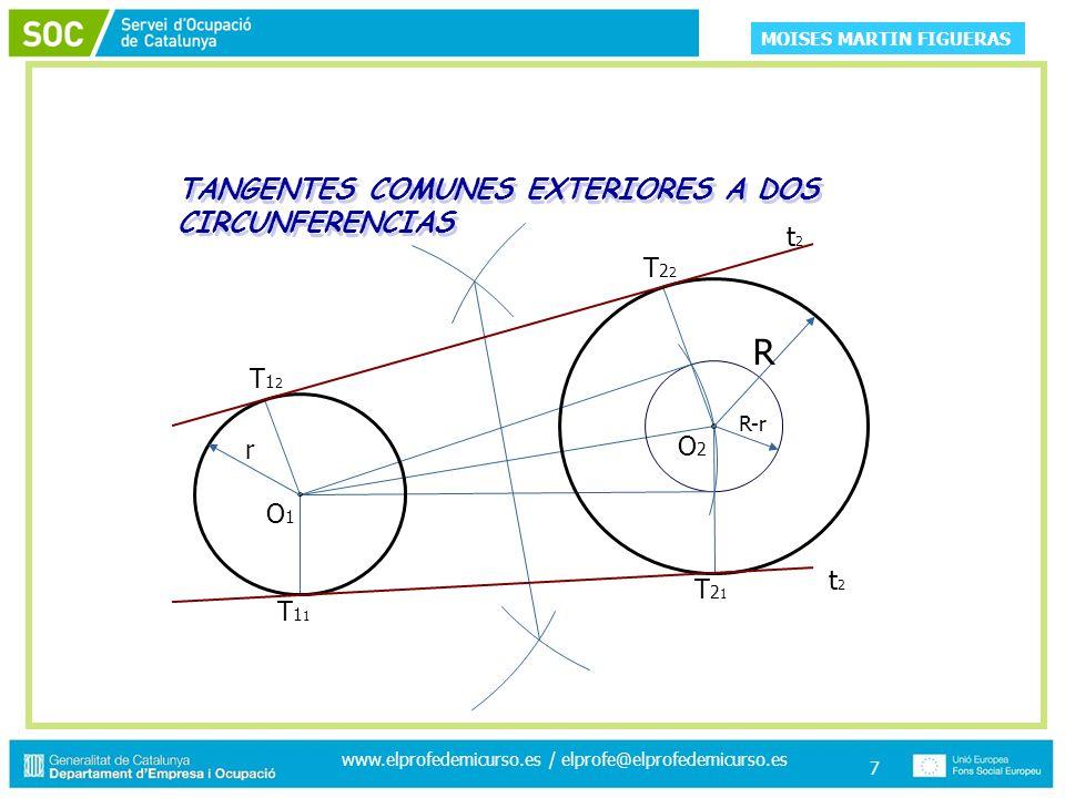 MOISES MARTIN FIGUERAS www.elprofedemicurso.es / elprofe@elprofedemicurso.es 7 TANGENTES COMUNES EXTERIORES A DOS CIRCUNFERENCIAS O2O2 O1O1 r T12T12 T11T11 T21T21 T22T22 R R-r t2t2 t2t2