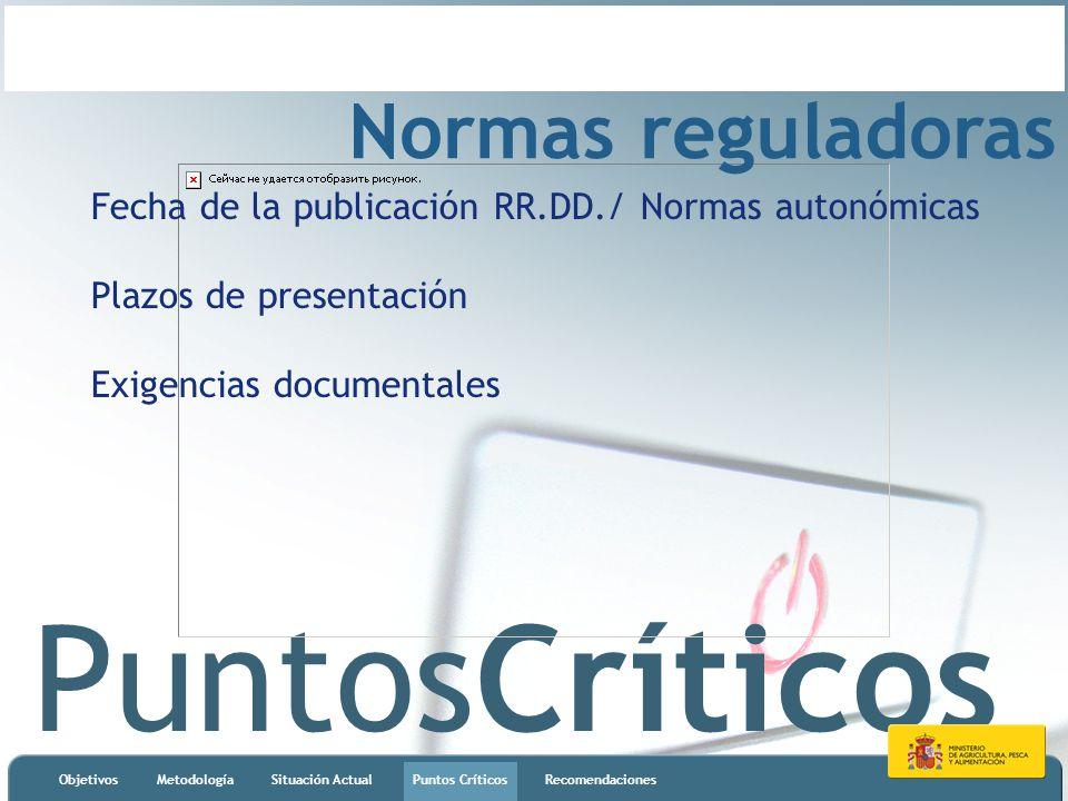 PuntosCríticos ObjetivosMetodologíaSituación ActualPuntos CríticosRecomendaciones Normas reguladoras Fecha de la publicación RR.DD./ Normas autonómica