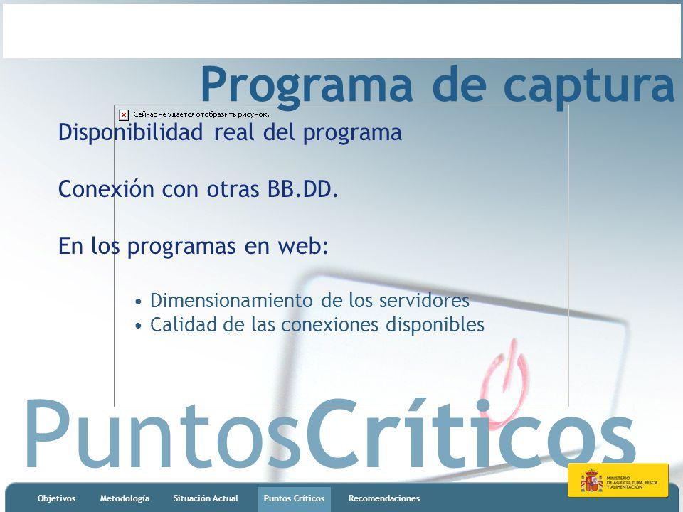 PuntosCríticos ObjetivosMetodologíaSituación ActualPuntos CríticosRecomendaciones Programa de captura Disponibilidad real del programa Conexión con ot