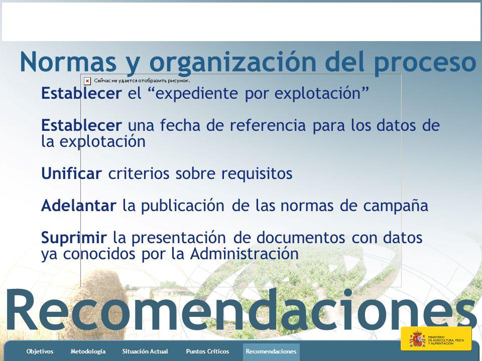 Recomendaciones ObjetivosMetodologíaSituación ActualPuntos CríticosRecomendaciones Normas y organización del proceso Establecer el expediente por expl