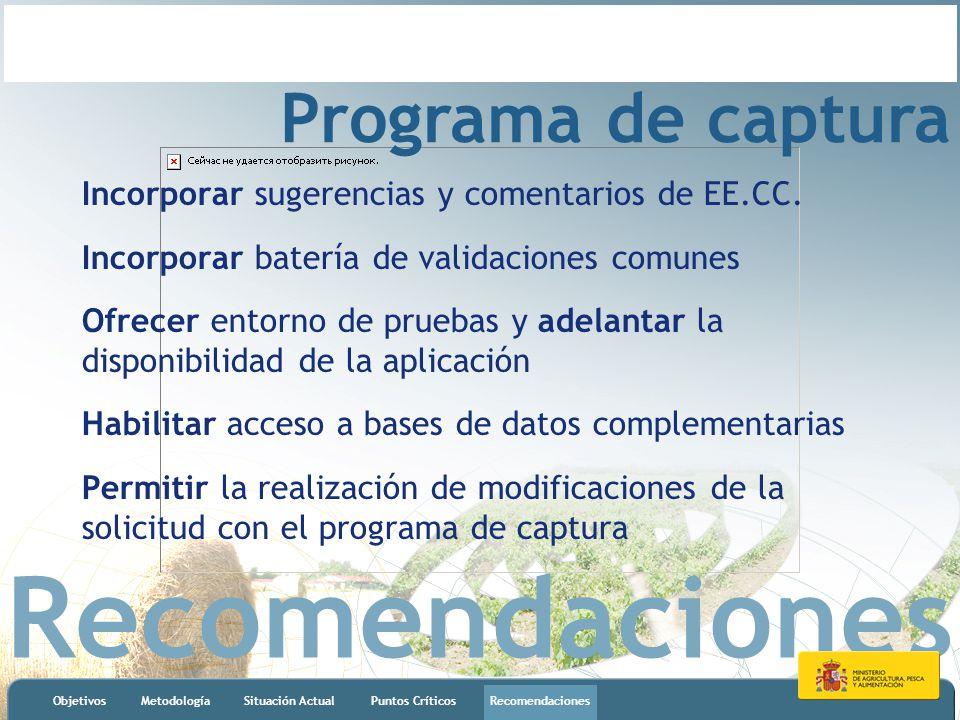 Recomendaciones ObjetivosMetodologíaSituación ActualPuntos CríticosRecomendaciones Programa de captura Incorporar sugerencias y comentarios de EE.CC.