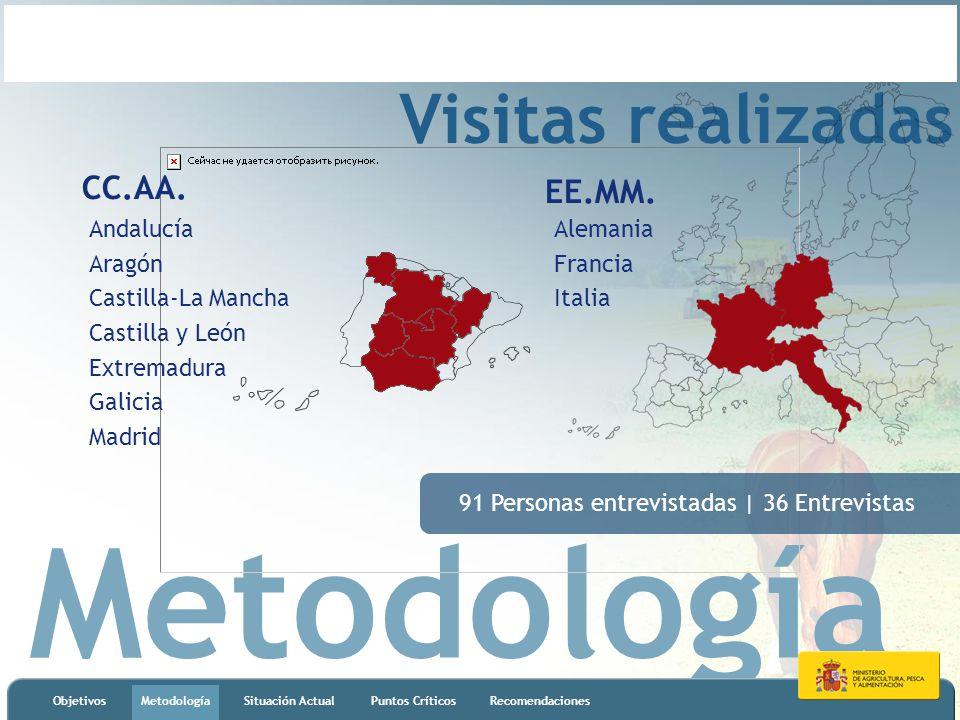 Metodología ObjetivosMetodologíaSituación ActualPuntos CríticosRecomendaciones Visitas realizadas CC.AA. Andalucía Aragón Castilla-La Mancha Castilla