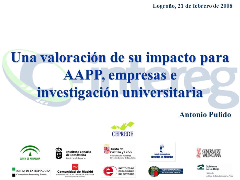 Una valoración de su impacto para AAPP, empresas e investigación universitaria Antonio Pulido Logroño, 21 de febrero de 2008
