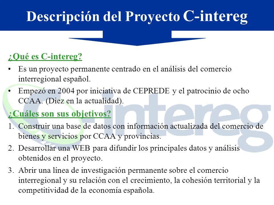 ¿Qué es C-intereg? Es un proyecto permanente centrado en el análisis del comercio interregional español. Empezó en 2004 por iniciativa de CEPREDE y el
