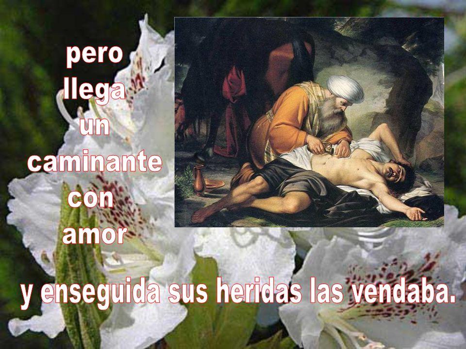 Aquel pobre desangraba sin auxilio, cuando vio que otro hombre se alejaba;