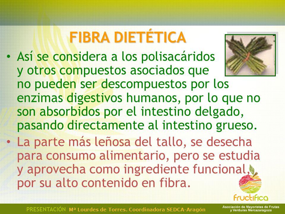 FIBRA DIETÉTICA Así se considera a los polisacáridos y otros compuestos asociados que no pueden ser descompuestos por los enzimas digestivos humanos,