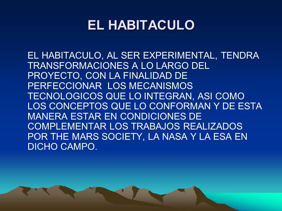 EL HABITACULO EL HABITACULO, AL SER EXPERIMENTAL, TENDRA TRANSFORMACIONES A LO LARGO DEL PROYECTO, CON LA FINALIDAD DE PERFECCIONAR LOS MECANISMOS TEC