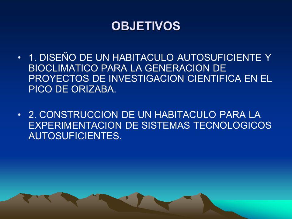 OBJETIVOS 1. DISEÑO DE UN HABITACULO AUTOSUFICIENTE Y BIOCLIMATICO PARA LA GENERACION DE PROYECTOS DE INVESTIGACION CIENTIFICA EN EL PICO DE ORIZABA.