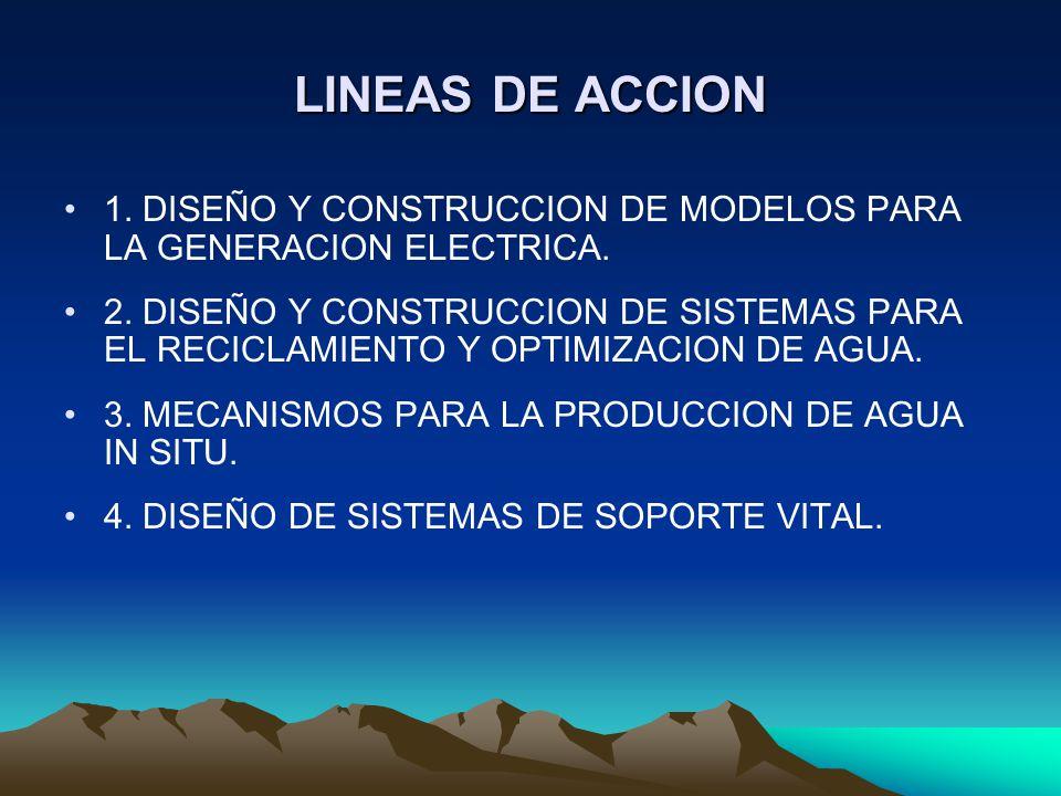 LINEAS DE ACCION 1. DISEÑO Y CONSTRUCCION DE MODELOS PARA LA GENERACION ELECTRICA. 2. DISEÑO Y CONSTRUCCION DE SISTEMAS PARA EL RECICLAMIENTO Y OPTIMI