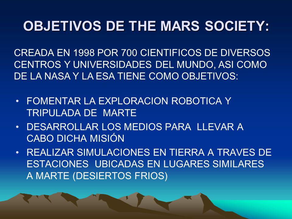 OBJETIVOS DE THE MARS SOCIETY: FOMENTAR LA EXPLORACION ROBOTICA Y TRIPULADA DE MARTE DESARROLLAR LOS MEDIOS PARA LLEVAR A CABO DICHA MISIÓN REALIZAR S