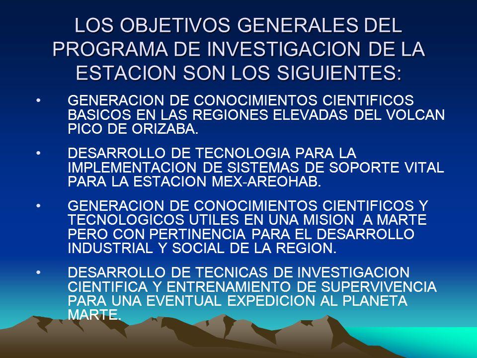 LOS OBJETIVOS GENERALES DEL PROGRAMA DE INVESTIGACION DE LA ESTACION SON LOS SIGUIENTES: GENERACION DE CONOCIMIENTOS CIENTIFICOS BASICOS EN LAS REGION
