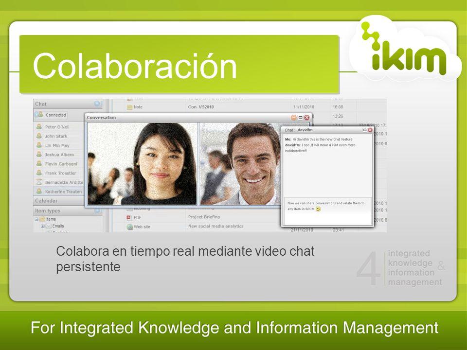 Colaboración Colabora en tiempo real mediante video chat persistente