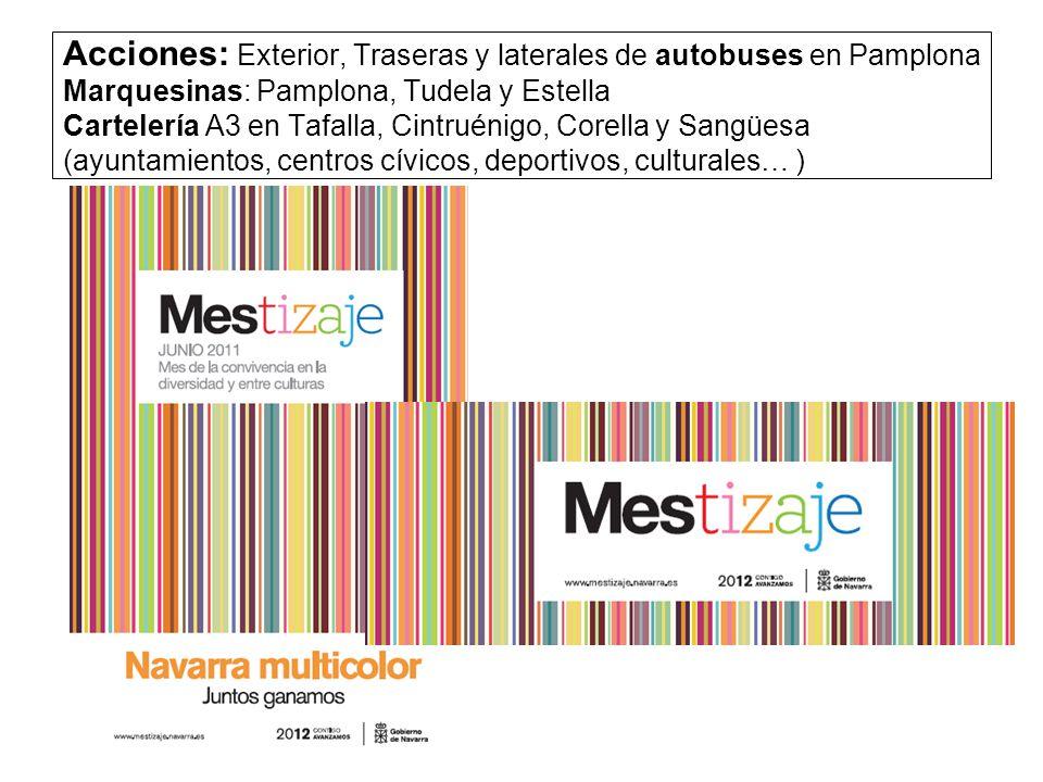 Acciones: Exterior, Traseras y laterales de autobuses en Pamplona Marquesinas: Pamplona, Tudela y Estella Cartelería A3 en Tafalla, Cintruénigo, Corella y Sangüesa (ayuntamientos, centros cívicos, deportivos, culturales… )