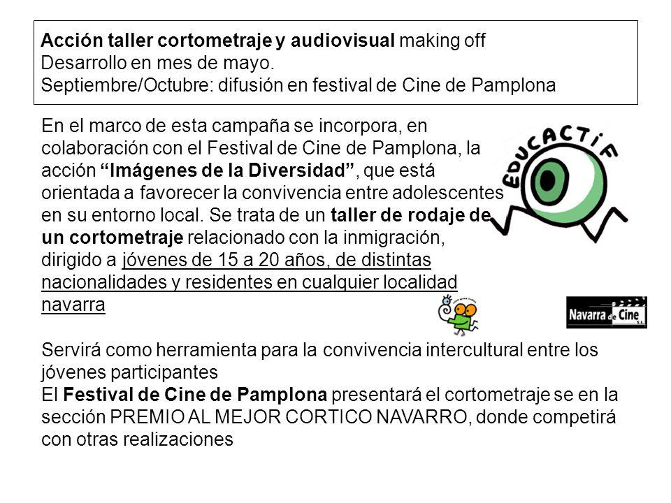 Acción taller cortometraje y audiovisual making off Desarrollo en mes de mayo.