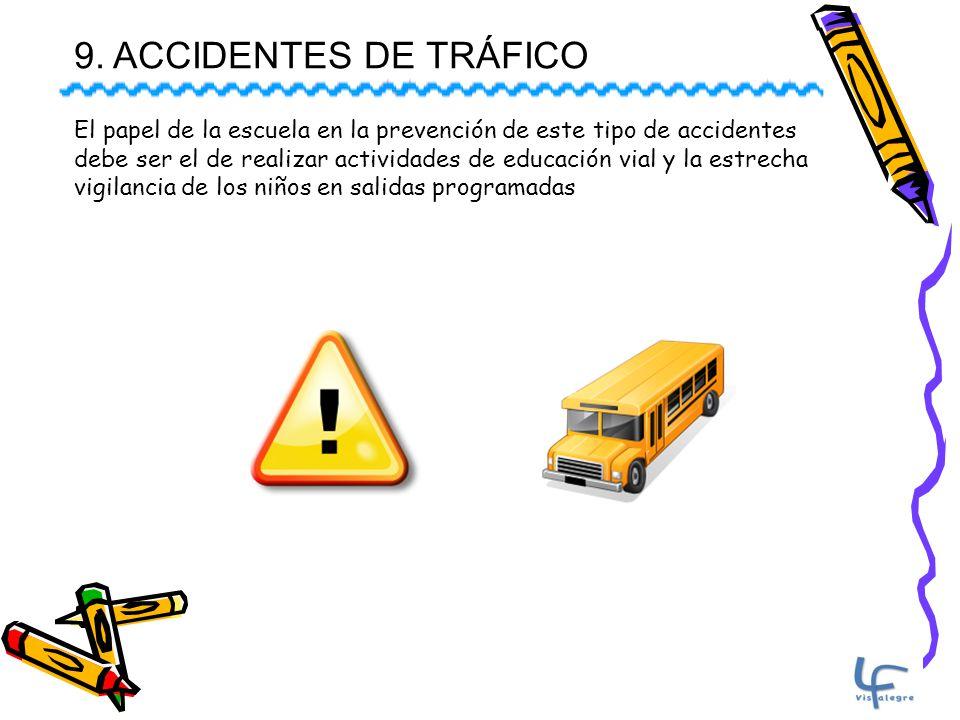 9. ACCIDENTES DE TRÁFICO El papel de la escuela en la prevención de este tipo de accidentes debe ser el de realizar actividades de educación vial y la