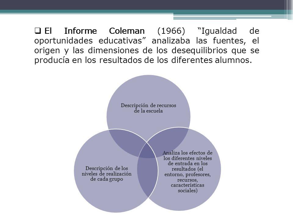 Informe Coleman (RESULTADOS): Mostraron la importancia del origen socioeconómico del alumno, así como de las características del entorno y las diferencias en la agrupación, las características de los compañeros de estudios en el rendimiento académico.