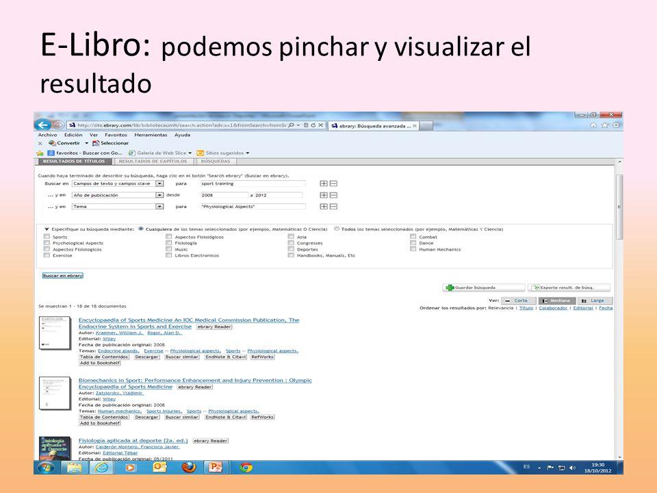 E-Libro: podemos pinchar y visualizar el resultado
