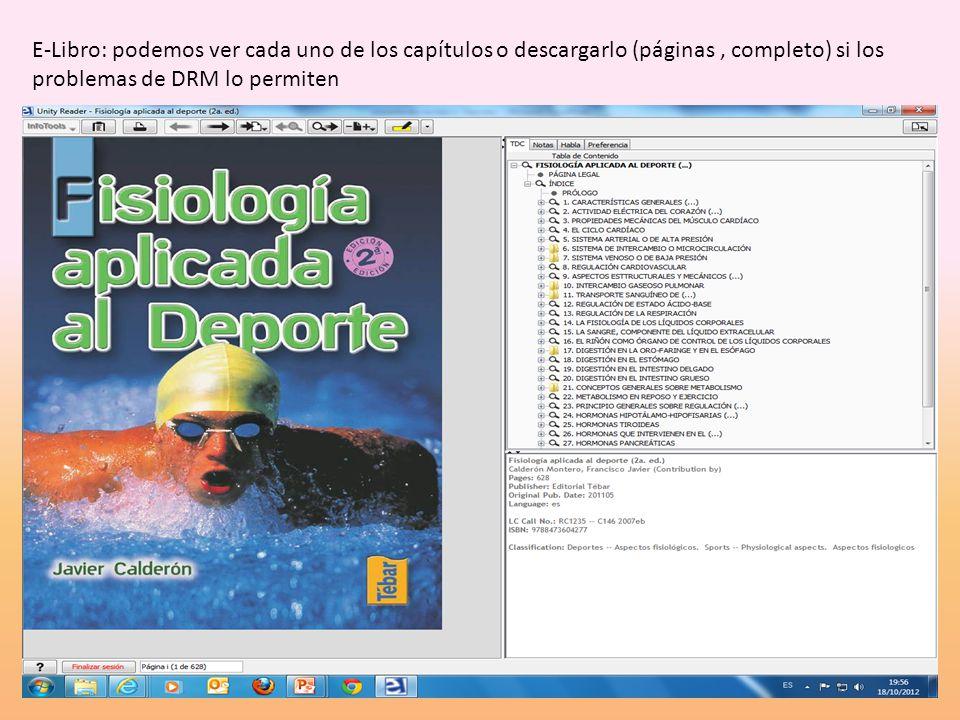 E-Libro: podemos ver cada uno de los capítulos o descargarlo (páginas, completo) si los problemas de DRM lo permiten