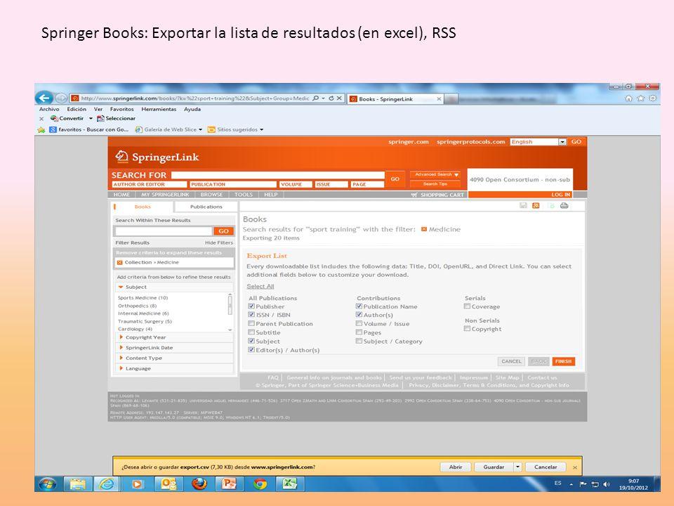 Springer Books: Exportar la lista de resultados (en excel), RSS