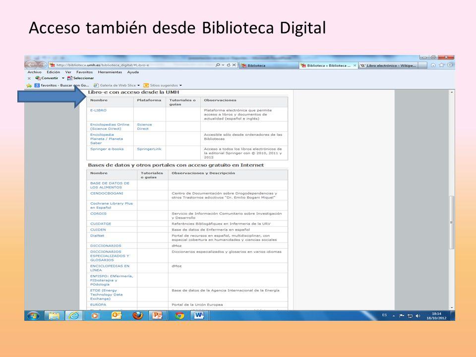 Acceso también desde Biblioteca Digital