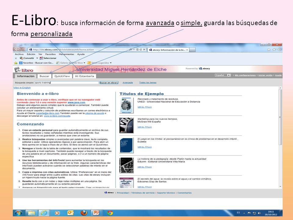 E-Libro : búsqueda avanzada seleccionado lo términos que deseamos