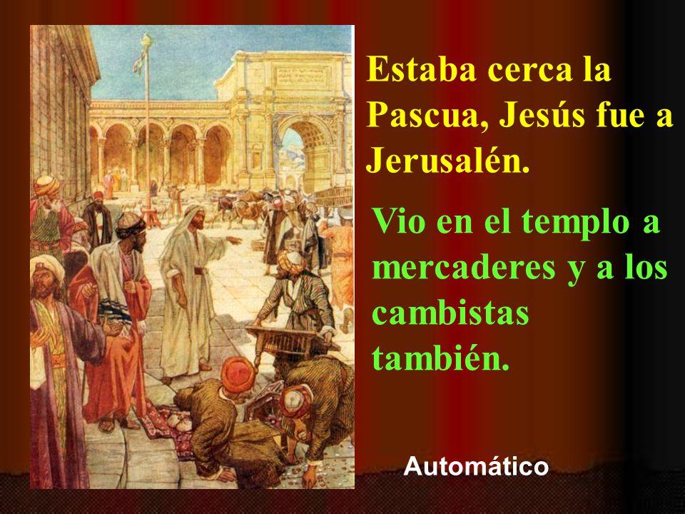 Jesús arroja a los mercaderes del templo.Está tomado del evangelio de san Juan.