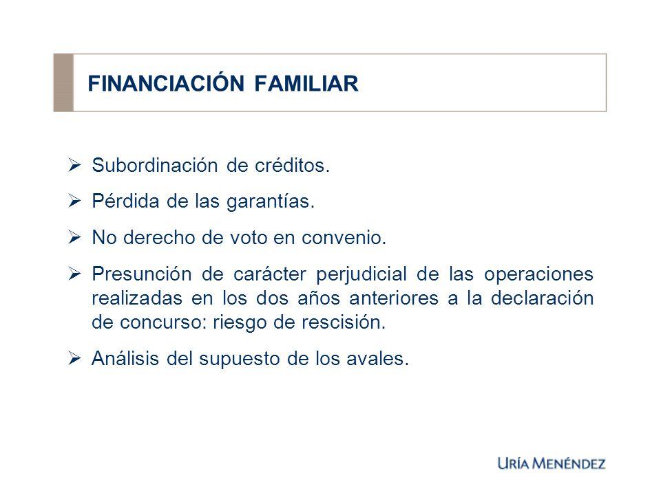 FINANCIACIÓN FAMILIAR Subordinación de créditos. Pérdida de las garantías.