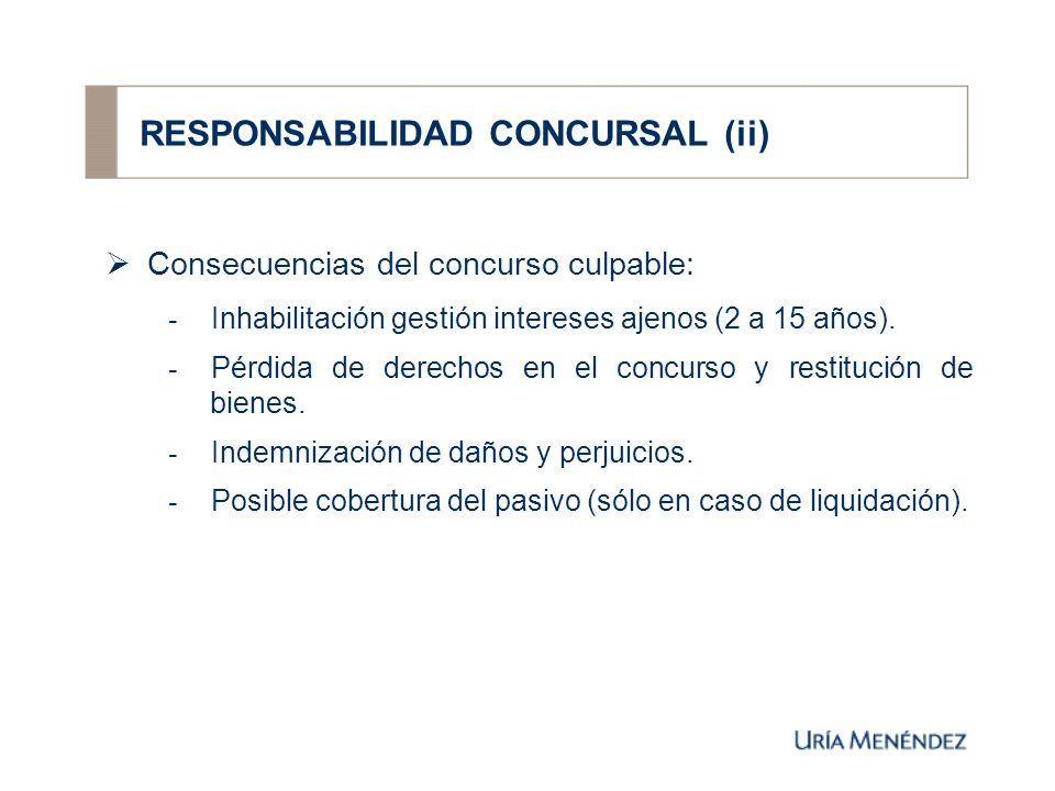 RESPONSABILIDAD CONCURSAL (ii) Consecuencias del concurso culpable: - Inhabilitación gestión intereses ajenos (2 a 15 años).