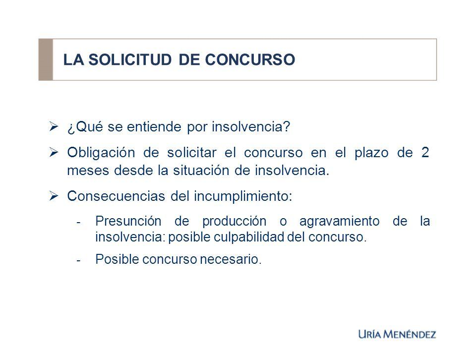 LA SOLICITUD DE CONCURSO ¿Qué se entiende por insolvencia.