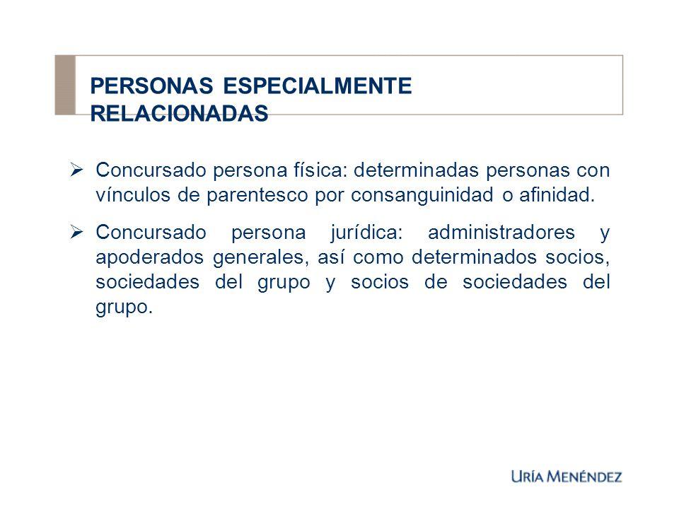 PERSONAS ESPECIALMENTE RELACIONADAS Concursado persona física: determinadas personas con vínculos de parentesco por consanguinidad o afinidad.
