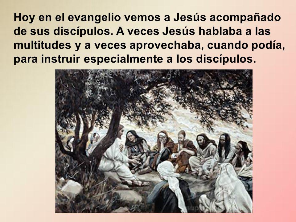 Hoy en el evangelio vemos a Jesús acompañado de sus discípulos.