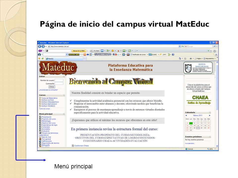 Página de inicio del campus virtual MatEduc Menú principal