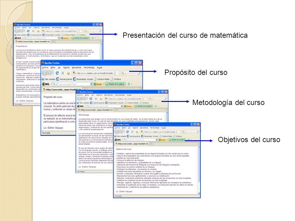 Presentación del curso de matemática Propósito del curso Metodología del curso Objetivos del curso