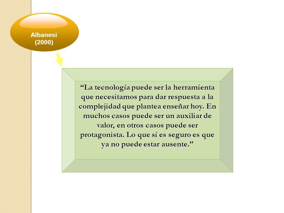 Albanesi (2000) La tecnología puede ser la herramienta que necesitamos para dar respuesta a la complejidad que plantea enseñar hoy.