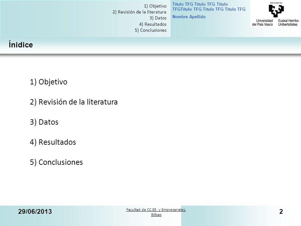 Facultad de CC.EE. y Empresariales, Bilbao Título TFG Título TFG Título TFGTítulo TFG Título TFG Título TFG Nombre Apellido 29/06/20132 2 1) Objetivo