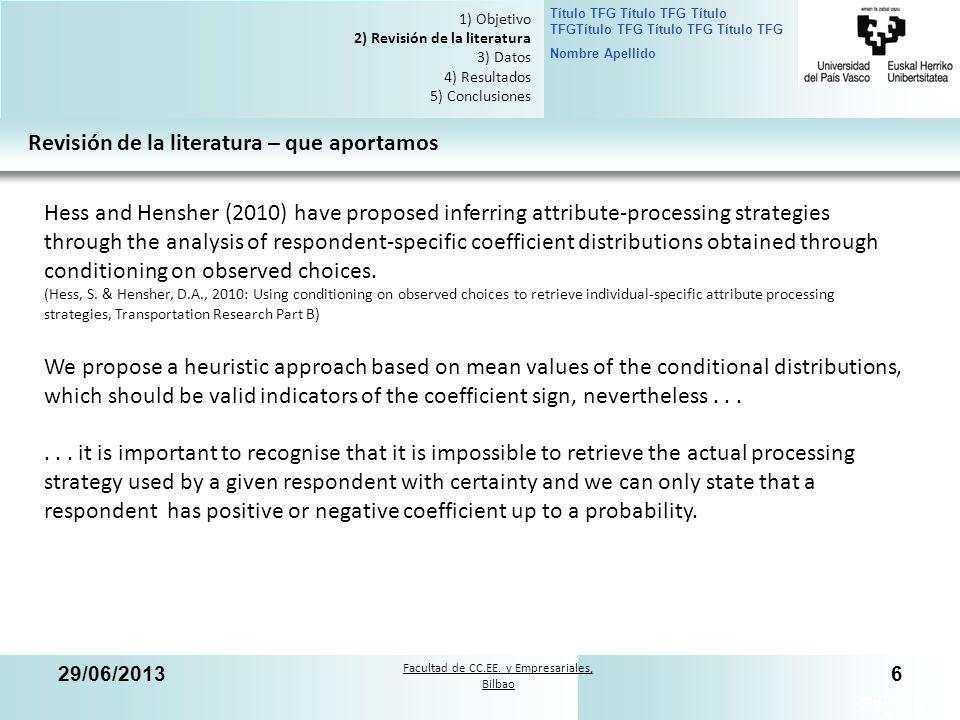 Facultad de CC.EE. y Empresariales, Bilbao Título TFG Título TFG Título TFGTítulo TFG Título TFG Título TFG Nombre Apellido 29/06/20136 Página 6 1) Ob
