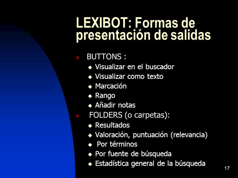17 LEXIBOT: Formas de presentación de salidas BUTTONS : Visualizar en el buscador Visualizar como texto Marcación Rango Añadir notas FOLDERS (o carpetas): Resultados Valoración, puntuación (relevancia) Por términos Por fuente de búsqueda Estadística general de la búsqueda