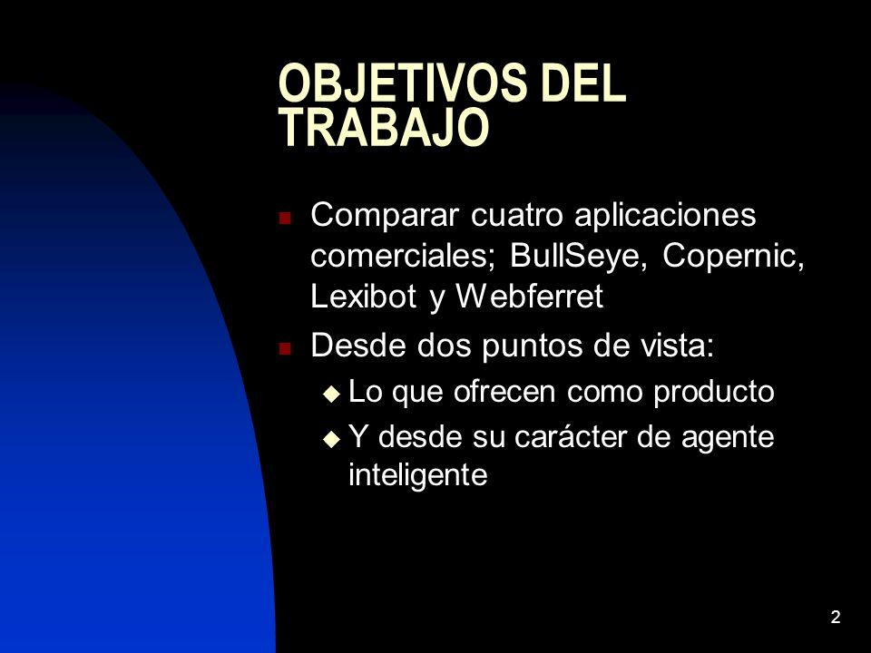 2 OBJETIVOS DEL TRABAJO Comparar cuatro aplicaciones comerciales; BullSeye, Copernic, Lexibot y Webferret Desde dos puntos de vista: Lo que ofrecen como producto Y desde su carácter de agente inteligente